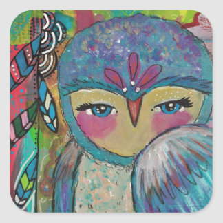 Mixed Media Owl and Feathers Sticker