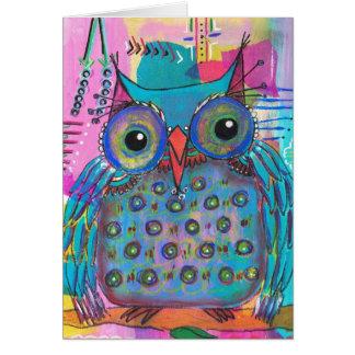 Mixed Media Owl Card