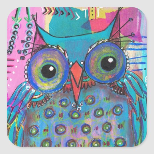 Mixed Media Owl Sticker
