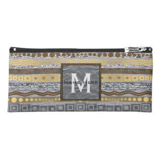 Mixed Metals Monogram Faux Bling Hi-Tec Glam Pencil Case