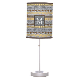 Mixed Metals Monogram Home Or Dorm Room Decor Table Lamp