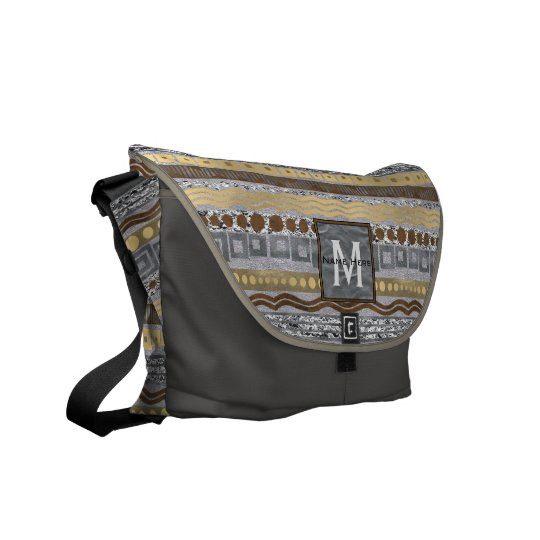 Mixed Metals Monogram Pattern School Travel Glam Messenger Bag