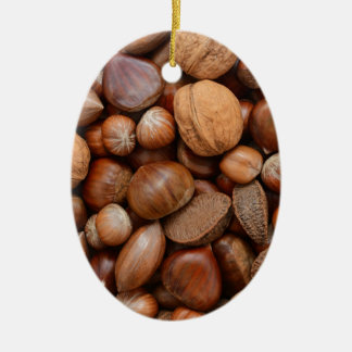 Mixed nuts ceramic oval ornament
