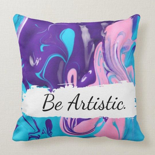 Mixed Paint Throw Pillow