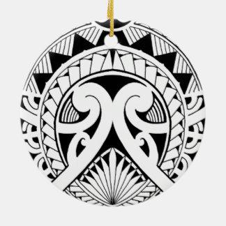 mixed polynesian maori tribal tattoo coconut leaf ceramic ornament
