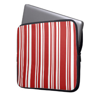 Mixed Red and White Stripes Laptop Sleeve