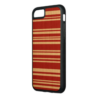 Mixed Red Stripes on Natural Wood Carved iPhone 8/7 Case