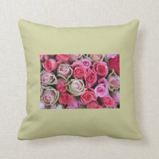 Mixed roses throw pillow, different shades of pink throw pillow