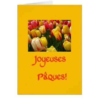 mixed tulips yellow easter greeting in French Greeting Cards