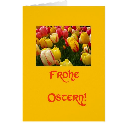 mixed tulips yellow easter greeting in german cards