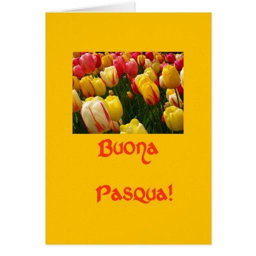 mixed tulips yellow easter greeting in italian greeting card