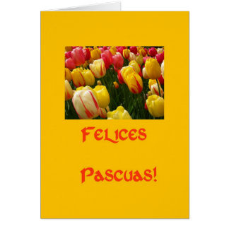 mixed tulips yellow easter greeting in spanish greeting card