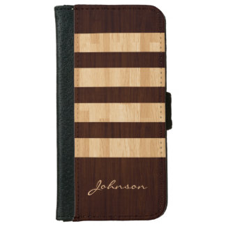 Mixed Wood and Bamboo Stripes - Wood Grain Look iPhone 6 Wallet Case