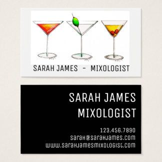 Mixologist Bartender Cocktail Cosmo Martini Drinks Business Card