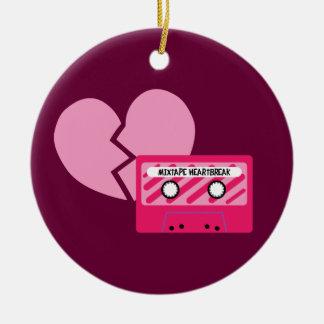 MixTape Heartbreak Round Ceramic Ornament