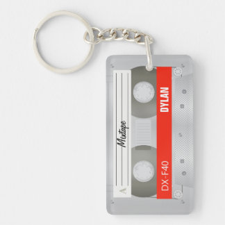 Mixtape old school cassette Double-Sided rectangular acrylic keychain