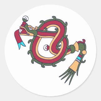 Mixtec Serpent Round Sticker