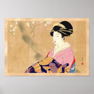 Miyagawa Shuntei Oiran japanese ukiyo-e art Poster