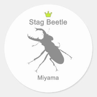 Miyama Stag Beetle g5 Classic Round Sticker