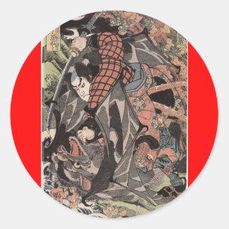 Miyamoto Musashi, c. 1800's Round Sticker