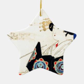 Mizuno Toshikata 水野年方, Courtesan - Asian Art Ceramic Star Ornament