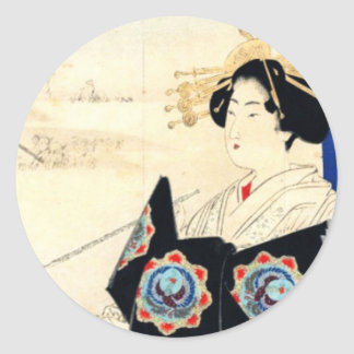 Mizuno Toshikata 水野年方, Courtesan - Asian Art Classic Round Sticker