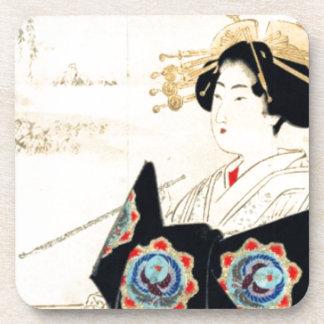 Mizuno Toshikata 水野年方, Courtesan - Asian Art Coaster