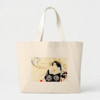 Mizuno Toshikata 水野年方, Courtesan - Asian Art Large Tote Bag