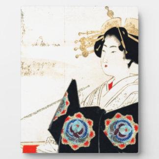 Mizuno Toshikata 水野年方, Courtesan - Asian Art Plaque