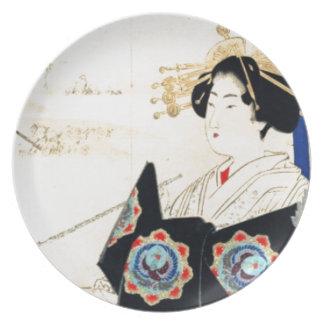 Mizuno Toshikata 水野年方, Courtesan - Asian Art Plate