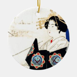 Mizuno Toshikata 水野年方, Courtesan - Asian Art Round Ceramic Ornament