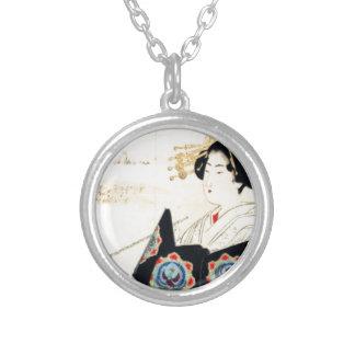 Mizuno Toshikata 水野年方, Courtesan - Asian Art Silver Plated Necklace