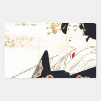 Mizuno Toshikata 水野年方, Courtesan - Asian Art Sticker