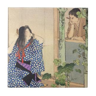 Mizuno Toshikata, Bijin combing hair vintage japan Tile