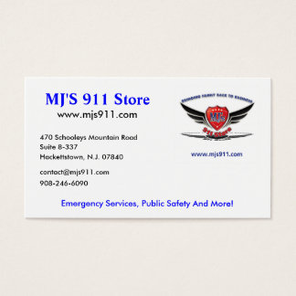 MJ'S 911 Store Business Card