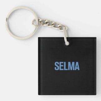 MLK Day-Selma Blue on Black Double-Sided Square Acrylic Keychain