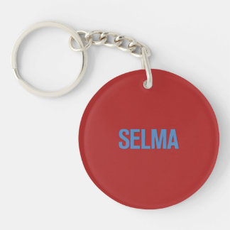 MLK Day-Selma Blue on Red Single-Sided Round Acrylic Keychain