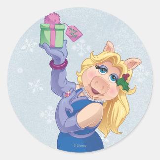 Mlle Piggy de vacances Autocollant Rond