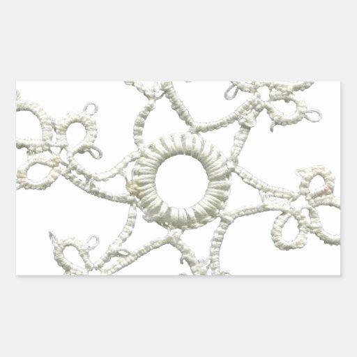 MLSE EMBROIDERED CREAM WHITE SNOWFLAKE SCRAPBOOKIN RECTANGULAR STICKER