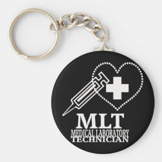 MLT HEART SYRINGE MEDICAL LAB TECH LOGO KEYCHAIN