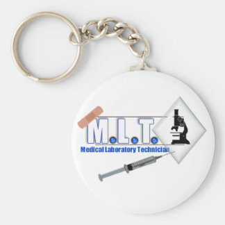 MLT LOGO W/ MICROSCOPE - MEDICAL LABORATORY TECH BASIC ROUND BUTTON KEYCHAIN