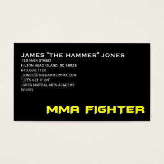 MMA FIGHTER BUSINESS CARD YELLOW ON BLACK