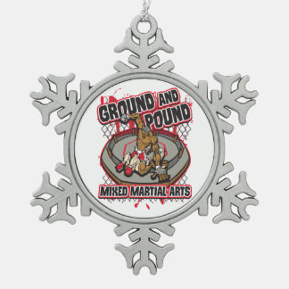 MMA Ground and Pound Snowflake Pewter Christmas Ornament