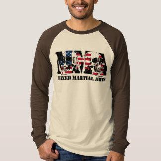 MMA Mixed Martial Arts USA Flag & Skulls T-Shirt