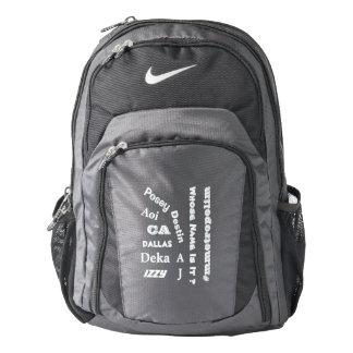 """MMetropolim """"Whose Name Is It?  Nike  Backpack, Backpack"""