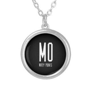 Mo Wifey Points Gear Silver Plated Necklace