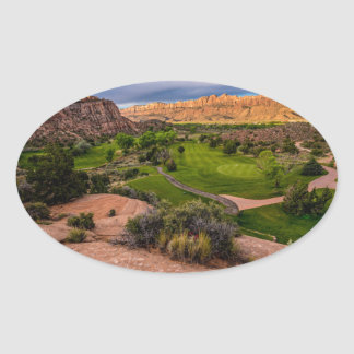 Moab Desert Canyon Golf Course at Sunrise Oval Sticker