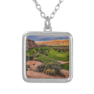 Moab Desert Canyon Golf Course at Sunrise Silver Plated Necklace