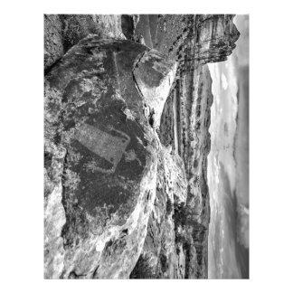 Moab Maiden Petroglyph - Black And White - Utah Letterhead Template