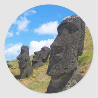 Moai at Rano Raraku Easter Island Classic Round Sticker